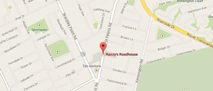 Razzys Road House Charlottetown Location Google Map